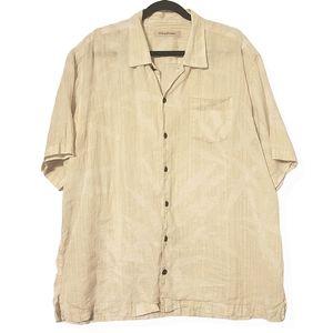 Tommy Bahama Linen Button Hawaiian Palm Shirt XL